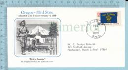 Art Work Envelope Cachet, Enveloppe Artistique, - David Stone, OREGON Flag, Commemorative, Cover Salem 1978 - Drapeaux