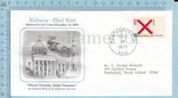 Art Work Envelope Cachet, Enveloppe Artistique, - B. Kochan,ALABAMA Flag, Commemorative, Cover Montgomery 1977 - Drapeaux