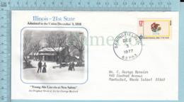 Art Work Envelope Cachet, Enveloppe Artistique, - G. Bradford, ILLINOIS Flag, Commemorative, Cover Springfield 1977 - Drapeaux