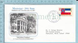 Art Work Envelope Cachet, Enveloppe Artistique, -Richard Hurd, MISSIPPI  Flag, Commemorative, Cover Jackson 1977 - Drapeaux