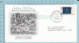 Art Work Envelope Cachet, Enveloppe Artistique, -Bill Hyde, INDIANA  Flag, Commemorative, Cover JIndianapolis 1977 - Drapeaux