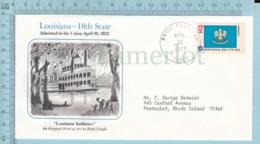 Art Work Envelope Cachet, Enveloppe Artistique, - Dolli Tingle, LOUISIANA  Flag, Commemorative, Cover Baton Rouge 1977 - Drapeaux