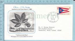Art Work Envelope Cachet, Enveloppe Artistique, -W. D. Richards, OHIO  Flag, Commemorative, Cover Columbus 1978 - Drapeaux