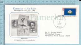 Art Work Envelope Cachet, Enveloppe Artistique, -H. Koehler, KENTUCKY  Flag, Commemorative, Cover Frankford 1977 - Drapeaux