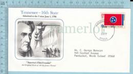 Art Work Envelope Cachet, Enveloppe Artistique, -James Womer, TENNESSEE  Flag, Commemorative, Cover Nashville 1977 - Drapeaux