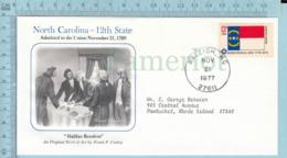 Art Work Envelope Cachet, Enveloppe Artistique, - F. P. Conley, North Carolina Flag, Commemorative, Cover Raleigh 1977 - Drapeaux