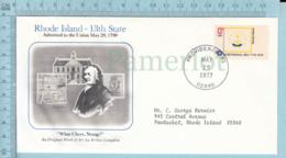 Art Work Envelope Cachet, Enveloppe Artistique, - A. Congdon, RHODE ISLAND Flag, Commemorative, Cover Providence 1977 - Drapeaux