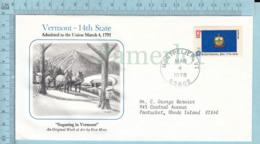 Art Work Envelope Cachet, Enveloppe Artistique, - Don Moss, VERMONT Flag, Commemorative, Cover Montpelier 1978 - Drapeaux
