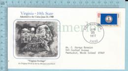 Art Work Envelope Cachet, Enveloppe Artistique, - M. Schottland, VIRGINIA Flag, Commemorative, Cover Richmond 1977 - Drapeaux