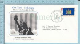 Art Work Envelope Cachet, Enveloppe Artistique, - Lance Wyman NEW YORK Flag, Commemorative, Cover Albany 1977 - Drapeaux