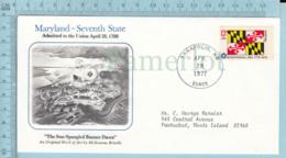 Art Work Envelope Cachet, Enveloppe Artistique, - M. Brindle MARYLAND Flag, Commemorative, Cover Annapolis1977 - Drapeaux