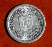 """Peu Courante Monnaie Jeton De Nécéssité """"10c - Union Commerciale De Vervins"""" Aisne - French Emergency Tokens - Monetary / Of Necessity"""