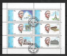 GENERAL CHARLES DE GAULLE - FEUILLET COMPLET AN 1972 SULTANAT SHARJAH OBLITERES TRES BON ETAT - Sharjah
