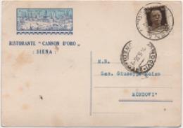 Siena: Ristorante Cannon D'Oro. Viaggiata 1936 - Alberghi & Ristoranti