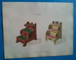 Bed Steps. Gravure Ancienne Aquarellée Publié En 1805. - Stampe & Incisioni