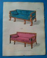 Sofas, Gravure Ancienne Aquarellée Publié En 1804. - Stampe & Incisioni