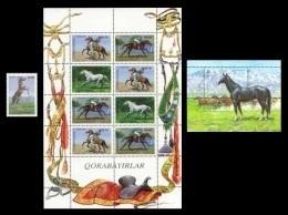 Uzbekistan 1999 Mih. 193/96 + 197 (Bl.20) Fauna. Korabajiry Horses MNH ** - Uzbekistan