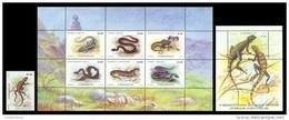 Uzbekistan 1999 Mih. 206/12 + 213 (Bl.22) Fauna. Reptiles MNH ** - Uzbekistan