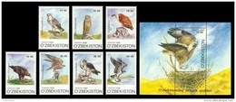 Uzbekistan 1999 Mih. 216/22 + 223 (Bl.23) Fauna. Birds Of Prey MNH ** - Uzbekistan