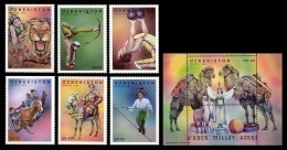 Uzbekistan 2000 Mih. 240/45 + 246 (Bl.25) Circus MNH ** - Uzbekistan