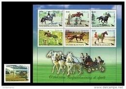 Uzbekistan 2000 Mih. 247/53 Horses. Equestrianism MNH ** - Uzbekistan
