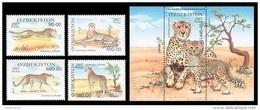 Uzbekistan 2007 Mih. 754/57 + 758 (Bl.49) Fauna. Cheetahs MNH ** - Uzbekistan