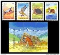 Uzbekistan 2012 Mih. 1020/23 + 1024 (Bl.63) Fauna. Rare Animals MNH ** - Uzbekistan