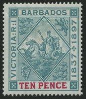 BARBADOS 60x *, 1897, 10 P. 60 Jahre Regentschaft, Weißes Papier, Falzreste, Herstellungsbedingte Gummiknitter, Pracht,  - Barbados (1966-...)