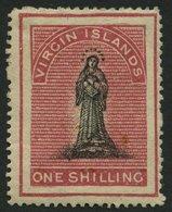 JUNGFERNINSELN 4AaI *, 1866, 1 Sh. Karmin, Schwarzweißer Rand, Papier Weiß, Einfache Einfassungslinien, Stärkere Falzres - British Virgin Islands