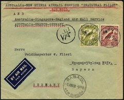 NEUGUINEA 114,119 BRIEF, 19.3.1938, Erstflug RABAUL-BRISBANE-SYDNEY, Der Brief Wurde In Finchhafen (Neuguinea) Aufgegebe - Papua New Guinea