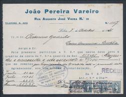 Recibo Da Estância De Madeiras De 1931, Com 3 Estampilhas Fiscais De 0$05. Bairro Americano De Lisboa. Stamp República - Portugal