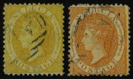 ST. LUCIA 8A,10A O, 1864, 4 P. Gelb Und 1 Sh. Orange, Gezähnt 121/2, 2 Werte üblich Gezähnt Pracht - St.Lucia (1979-...)