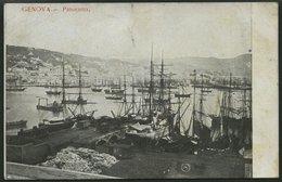 ALTE POSTKARTEN - ITALIEN GENOVA-Panorama, Ansichtskarte Nach Deutschland, Gebrauchsspuren - Italy