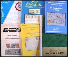 PHIL. LITERATUR Schweden - Sonder- Und Spezialauktionen Von 1968-2001, 6 Verschiedene Kataloge, 1x Mit Ergebnisliste - Philatelie Und Postgeschichte