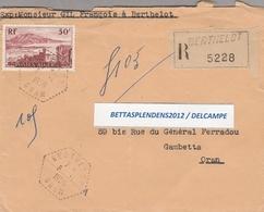 LSC 1956 - Recommandé Et Cachet Hexagonal Perlé - BERTHELOT (ORAN)   Sur YT 327 - Algérie (1924-1962)