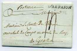 Lettre D'ARPAJON  Lenain N°3 / Dept De SEINE ET OISE / 1778 - Marcofilie (Brieven)