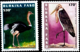 ENDANGERED BIRDS- COMMON OSTRICH & MARABOU STORK-SET OF 2- BURKINA FASO-1998-SCARECE-MNH- H-568 - Autruches