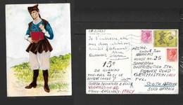 Italy, Sardinia, Costumi Sardi, Dorgali (Nuoro) Signed Perrotti, Used 1975 > S.Africa - Costumes