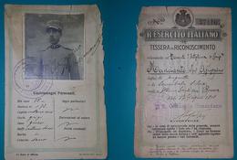 Tessera Di Riconoscimento R. Esercito Italiano 1918 - Vecchi Documenti