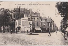 BORDEAUX (33) CPA Place Féger Et Rue De La Course, Salon De Coiffure Publicité HACHARD Rhum Saint Georges Pastis Berger - Bordeaux