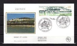 """"""" CHINON """"  Sur Enveloppe 1er Jour De 1993 SIGNEE. N° YT 2817. Parfait état. FDC - Non Classés"""