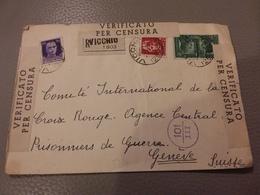 ITALIE LETTRE REC VICCHIO 7/6/41 POUR COMITÉ INT CROIX ROUGE GENÈVE PRISONNIERS DE GUERRE + CENSURE - Storia Postale