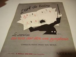 ANCIENNE PUBLICITE VIN LE NICOLAS L ART DE BOIRE 1954 - Publicités