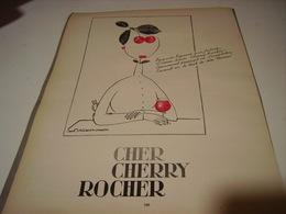 ANCIENNE PUBLICITE CHER CHERRY ROCHER DIGESTIF 1954 - Alcools