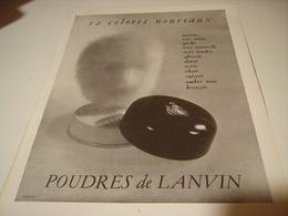 ANCIENNE PUBLICITE POUDRE  DE LANVIN 1954 - Other
