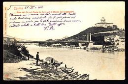 CARTOLINA TORINO RIVA DEL PO E MONTE CAPPUCCINI VIAGGIATA 1901  (2/14) - Multi-vues, Vues Panoramiques