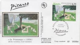 Enveloppe  FDC   1er  Jour  Oeuvre  De   PICASSO    VILLEURBANNE   1998 - Picasso