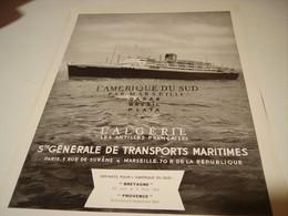 ANCIENNE PUBLICITE VACANCE GENERALE MARITINE PAQUEBOT LE PROVENCE 1953 - Publicités