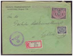 GG (005343) Einschreiben, Vorgedruckter Umschlag Deutsche Staatsanwaltschaft Warschau, Gelaufen Nach Lublin Am 21.8.1942 - Besetzungen 1938-45