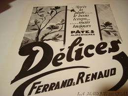 ANCIENNE PUBLICITE PATE ALIMENTAIRE  DELICE PRINTEMP 1930 - Posters
